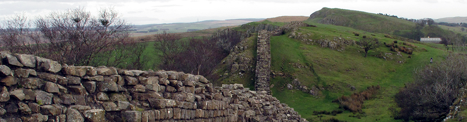 Hadrian's Wall running east at Walltown Crags