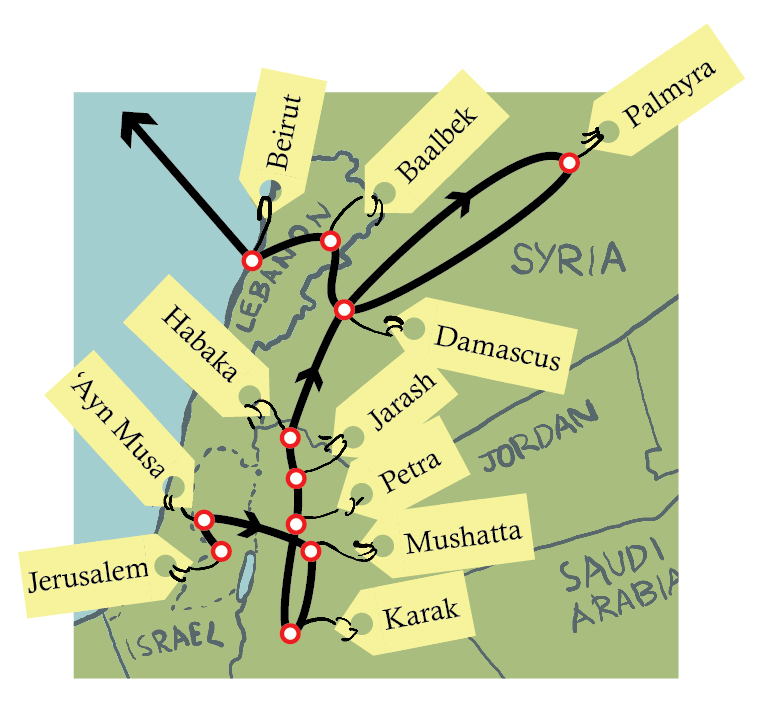Isolated Map of Gertrude Bell's travels