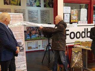 Foodbank Histories exhibition launched by I, Daniel Blake star David Johns. Part of Being Human festival of the humanities.