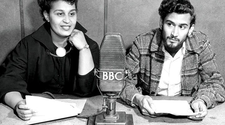 Pauline Enriques and Samuel Selvon reading scripts at the BBC, 1952 © BBC/UK Government (public domain)