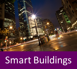 Graphic with text: smart buildings